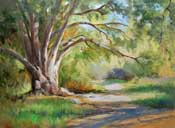 Eaton Canyon Oak Tree Oil Painting California impressionist art by Karen Winters