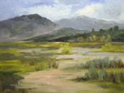 Western watershed San Gabriel Mountains Arroyo Seco Hahamongna Park oil painting by Karen Winters