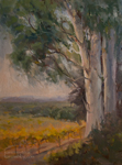 California Vineyard Oil Painting, Temecula, with two eucalyptus trees, vertical, 9 x 12 inches