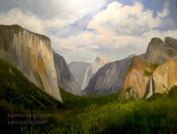 Yosemite Valley - Wowona Tunnel View 16 x 20 oil