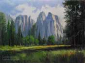 Yosemite Sentinel Rock Sentinel Meadow Landscape Oil Painting by Karen Winters Fine Art